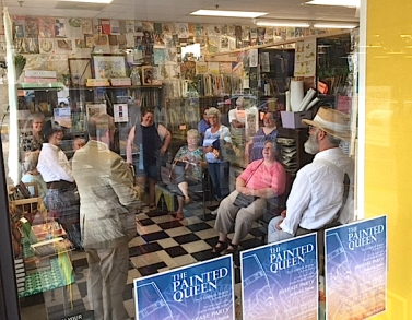 Painted Queen book launch, Ray Johnson speaking, Wonder Book Store, Frederick, from outside, July 25, 2017. Photo by Chuck Roberts